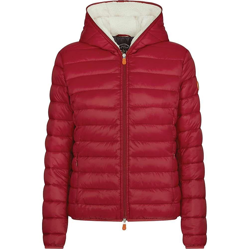 セイブ ザ ダック Save The Duck レディース ジャケット フード アウター【hooded sherpa jacket】Mineral Red