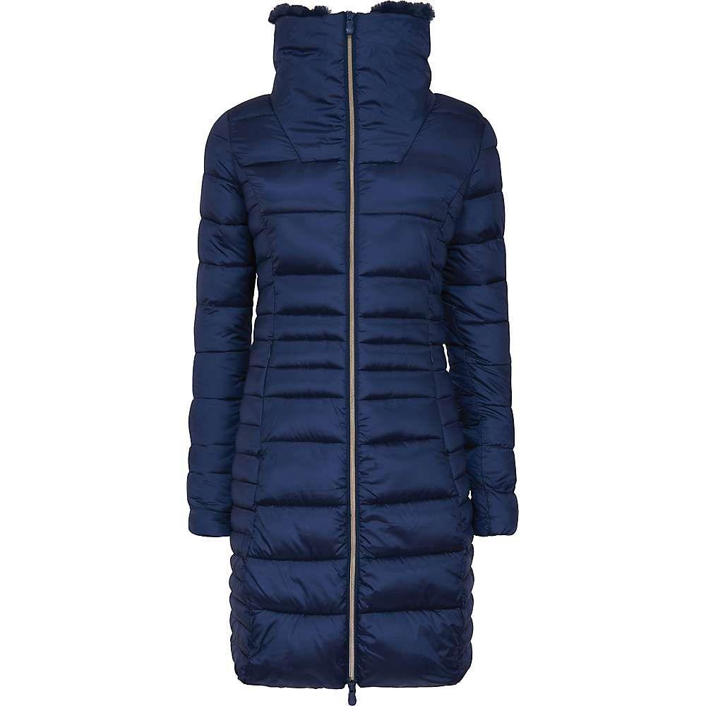 セイブ ザ ダック Save The Duck レディース ジャケット アウター【signature faux fur lined iridescent long jacket】Navy Blue