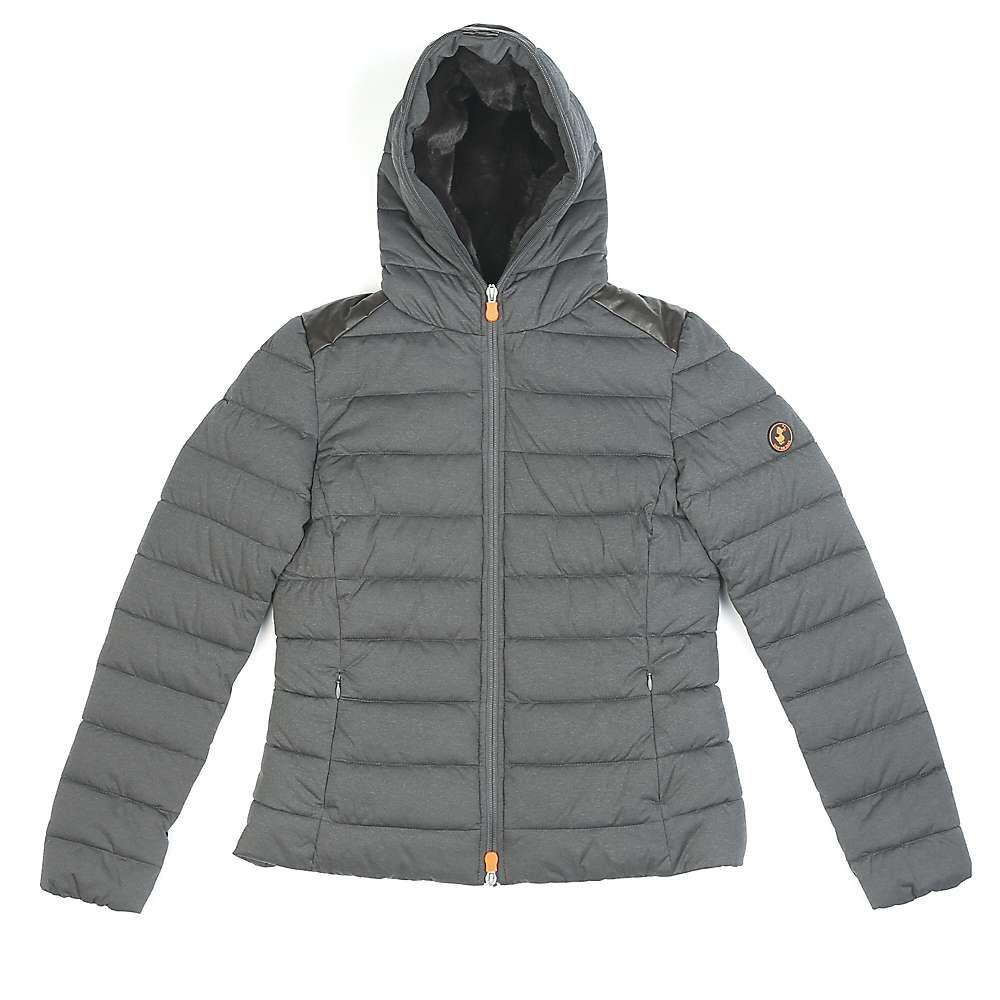 セイブ ザ ダック Save The Duck レディース ジャケット アウター【signature stretch hoodie】Charcoal Grey Melange