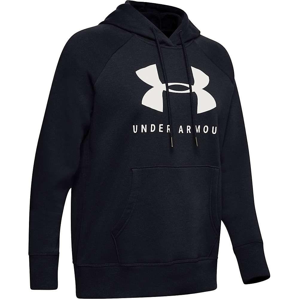 アンダーアーマー Under Armour レディース フリース トップス【rival fleece sportstyle lc sleeve graphic hoodie】Black/Onyx White