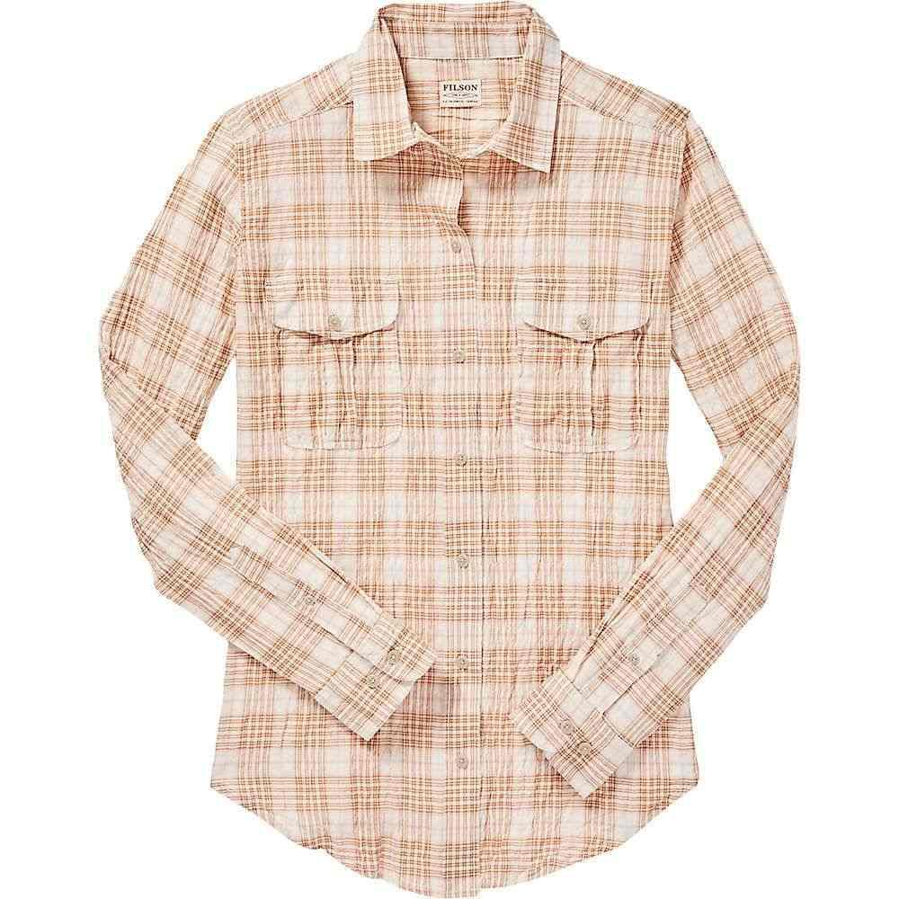 フィルソン Filson レディース ブラウス・シャツ トップス【kadin island shirt】White Tan Plaid