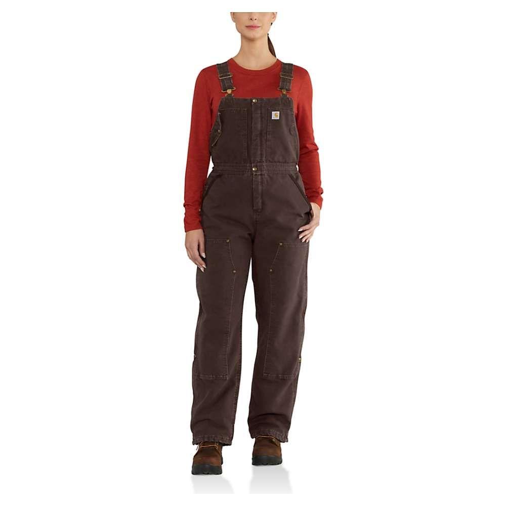 カーハート Carhartt レディース オーバーオール ビブパンツ ボトムス・パンツ【weathered duck wildwood overalls bib】Dark Brown