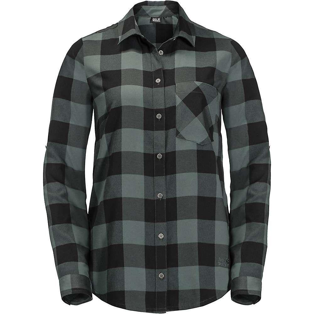 ジャックウルフスキン Jack Wolfskin レディース ブラウス・シャツ トップス【holmstad shirt】Greenish Grey Checks