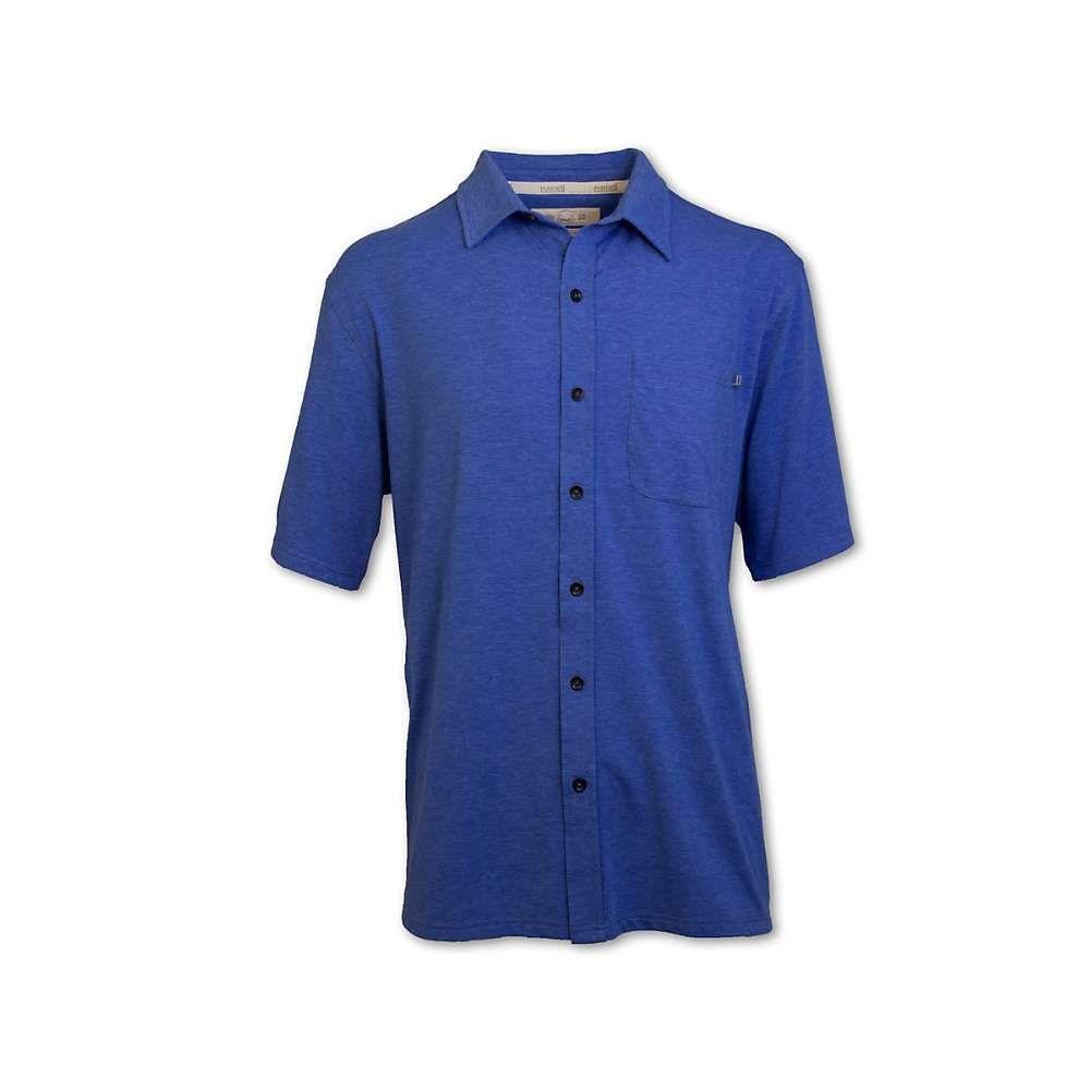 パーネル Purnell メンズ フィットネス・トレーニング トップス【performance ss knit button up shirt】Haether Blue