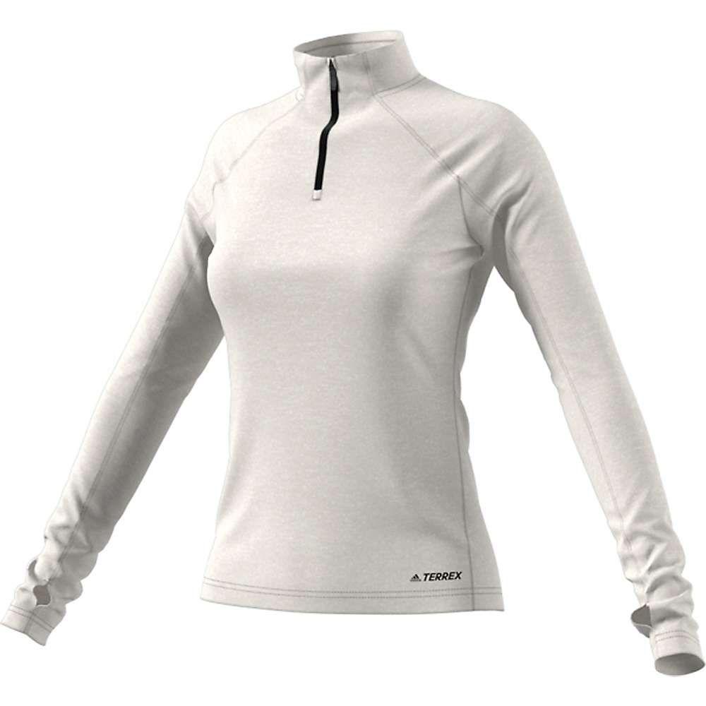 アディダス Adidas レディース フィットネス・トレーニング ハーフジップ トップス【tracerocker 1/2 zip top】Raw White