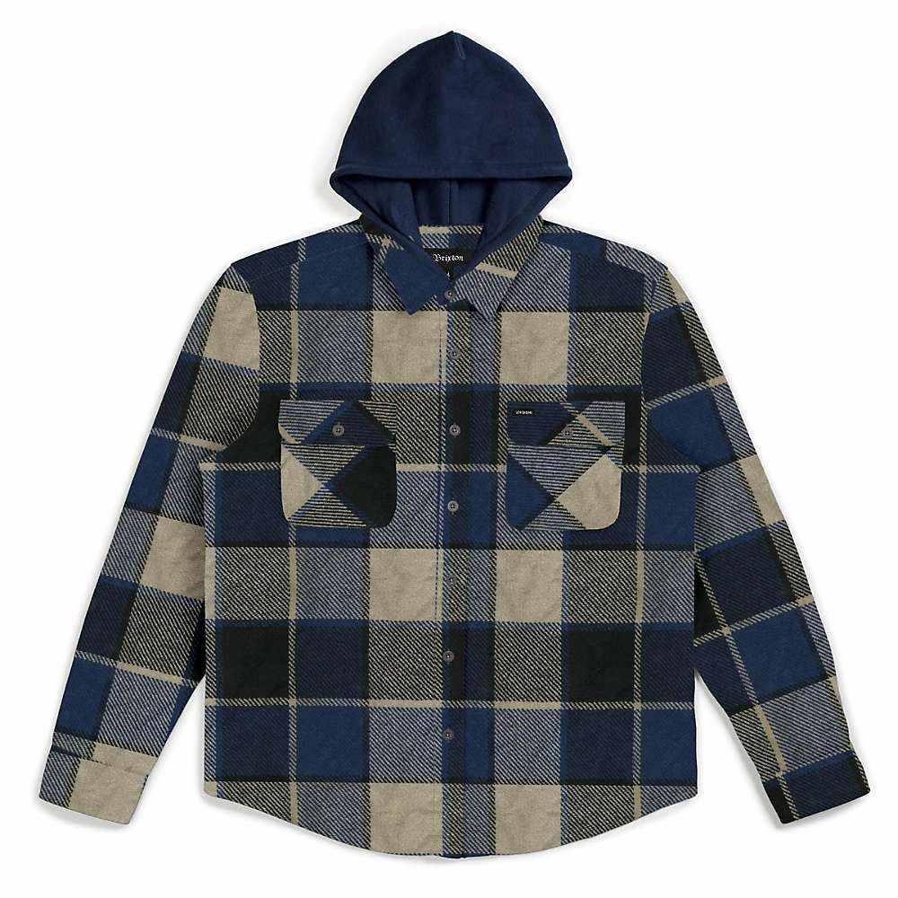 ブリクストン Brixton メンズ シャツ トップス【bowery hood long sleeve flannel】BLACK/BLUE