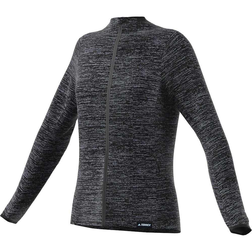 アディダス Adidas レディース フリース トップス【Knit Fleece Jacket】Dark Grey Heather