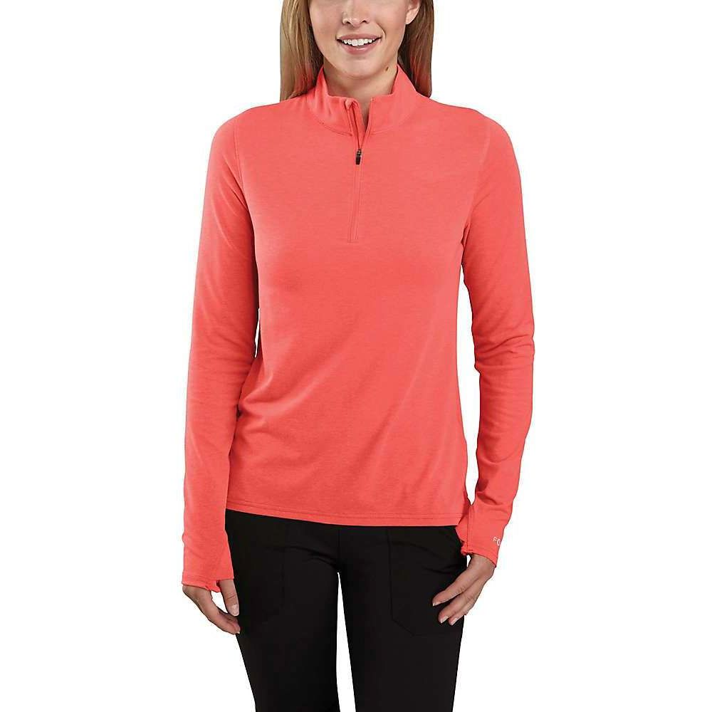 カーハート Carhartt レディース トップス ハーフジップ【Force Delmont Quarter Zip Shirt】Hot Coral Heather