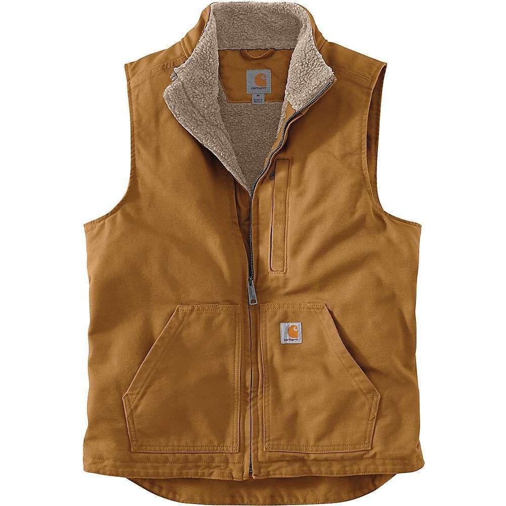 カーハート Carhartt メンズ ベスト・ジレ トップス【Washed Duck Sherpa-Lined Mockneck Vest】Carhartt Brown