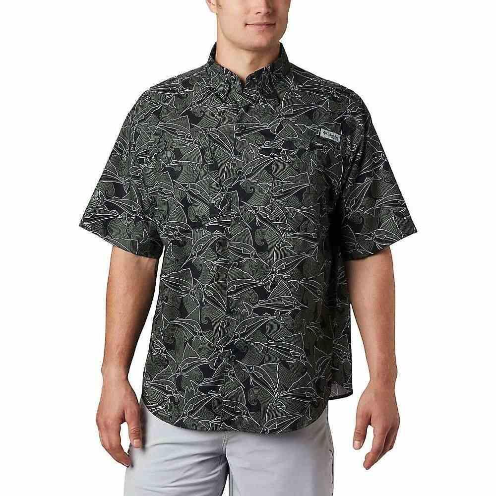 コロンビア Columbia メンズ 半袖シャツ トップス【Super Tamiami SS Shirt】Black Fish Wave Print