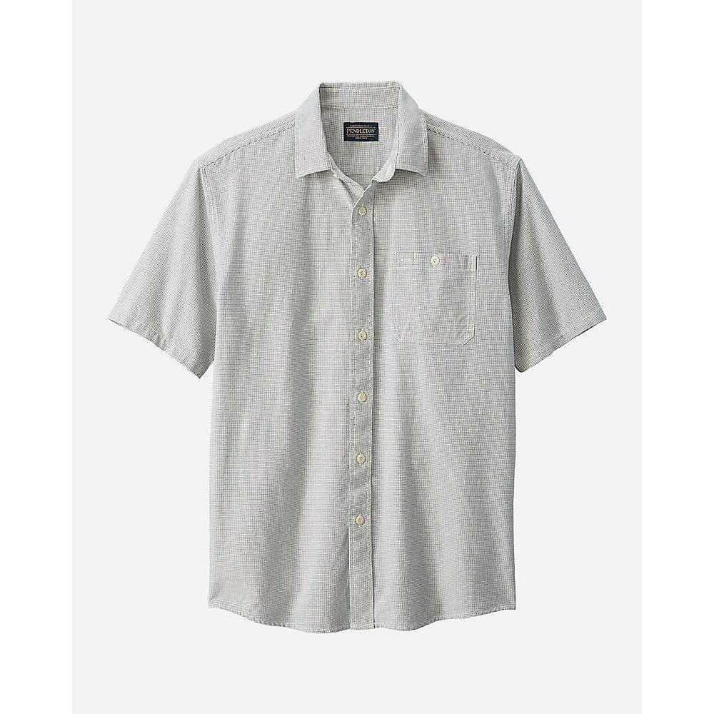 ペンドルトン Pendleton メンズ 半袖シャツ トップス【Kay Street SS Fitted Stripe Shirt】Ivory/Indigo Dot