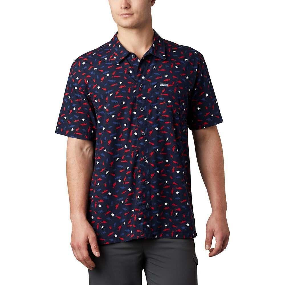 割引価格 コロンビア Columbia メンズ 半袖シャツ トップス【Trollers Best SS Shirt】Collegiate Navy Americana Print, EVER GRAYSエバーグレイス 40479967