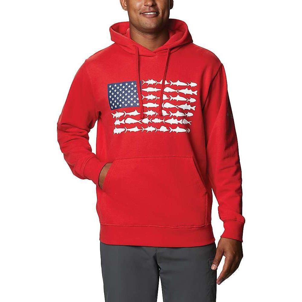 【初売り】 コロンビア Columbia メンズ パーカー トップス【PFG Fish Flag Hoodie】Red Spark/White, プランタンブランby花月堂 15523853
