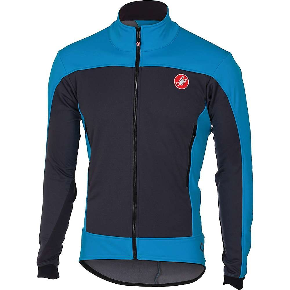 カステリ メンズ 自転車 アウター【Castelli Mortirolo 4 Jacket】Anthracite / Sky Blue