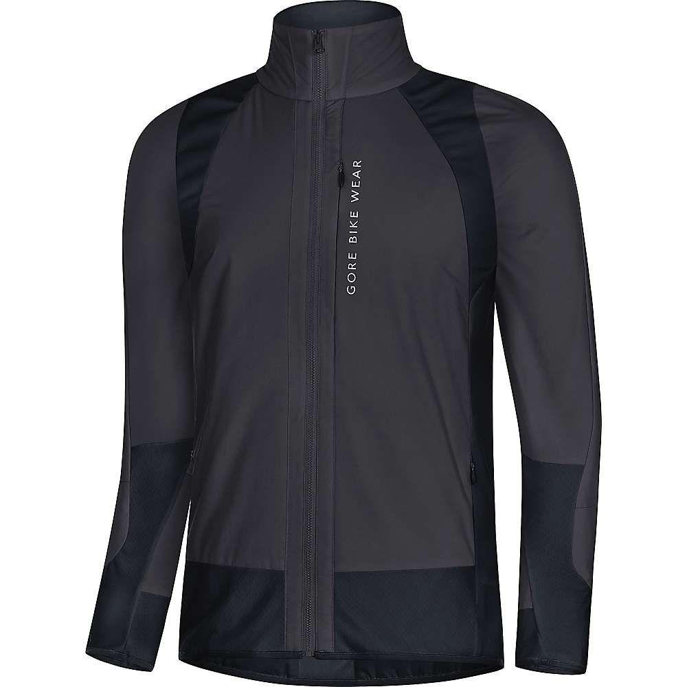 ゴア メンズ 自転車 アウター【Gore Bike Wear Power Trail GTX Windstopper Insulated Partial Jacket】Raven Brown / Black