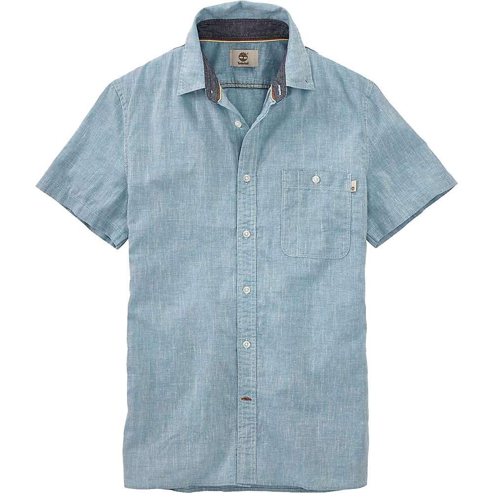 ティンバーランド メンズ ハイキング・登山 トップス【Timberland Mill River Cotton/Linen Chambray SS Shirt】Stone Blue