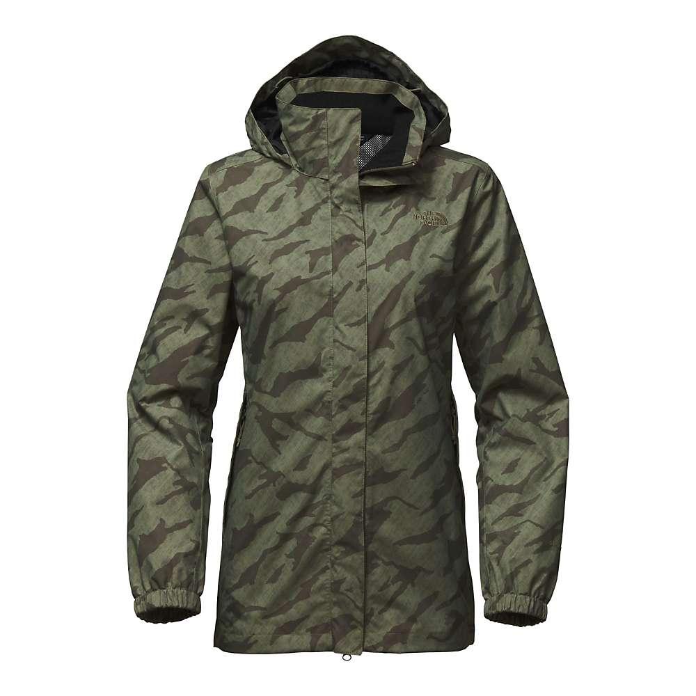 ザ ノースフェイス レディース アウター レインコート【Resolve Parka Jacket】Deep Lichen Green Marker Mountain Print