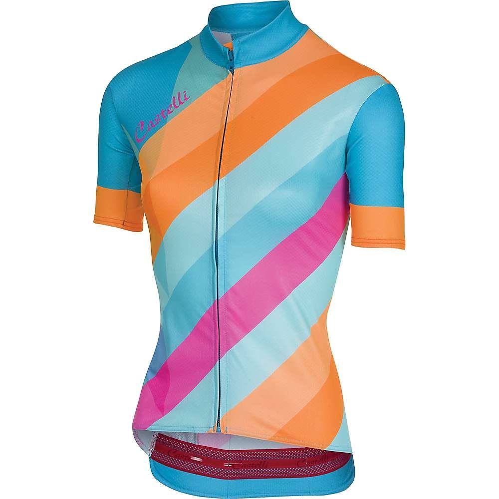 カステリ レディース 自転車 トップス【Prisma Full Zip Jersey】Multicolor Sky Blue