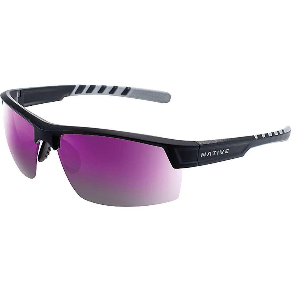 ネイティブ メンズ メガネ・サングラス【Catamount Polarized Sunglasses】Matte Black / Crystal / Violet Reflex Polarized