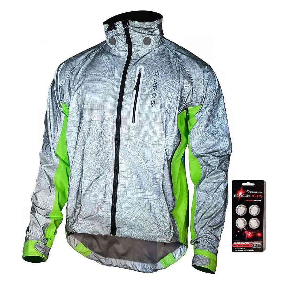 シャワーズ パス メンズ 自転車 アウター【Hi-Vis Torch Jacket】Reflective Silver / Neon Green