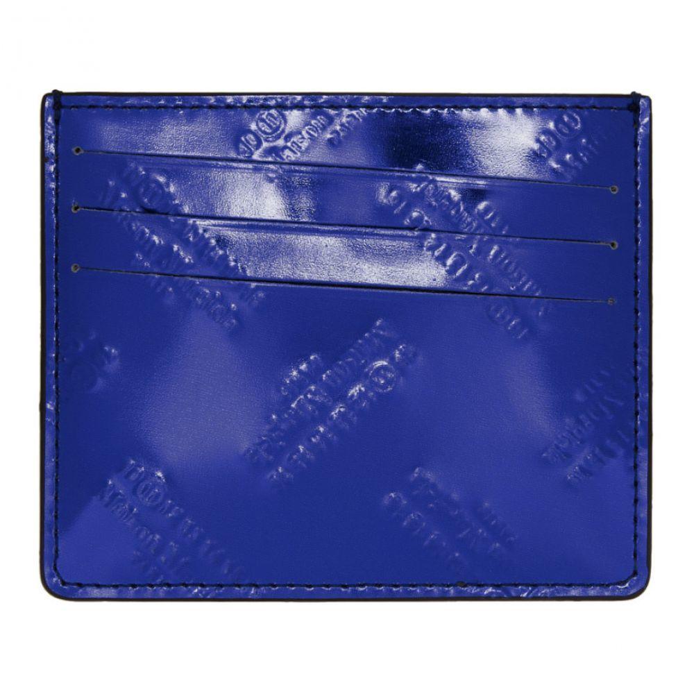 メゾン マルジェラ メンズ カードケース・名刺入れ【Blue & Black All Over Logo Card Holder】