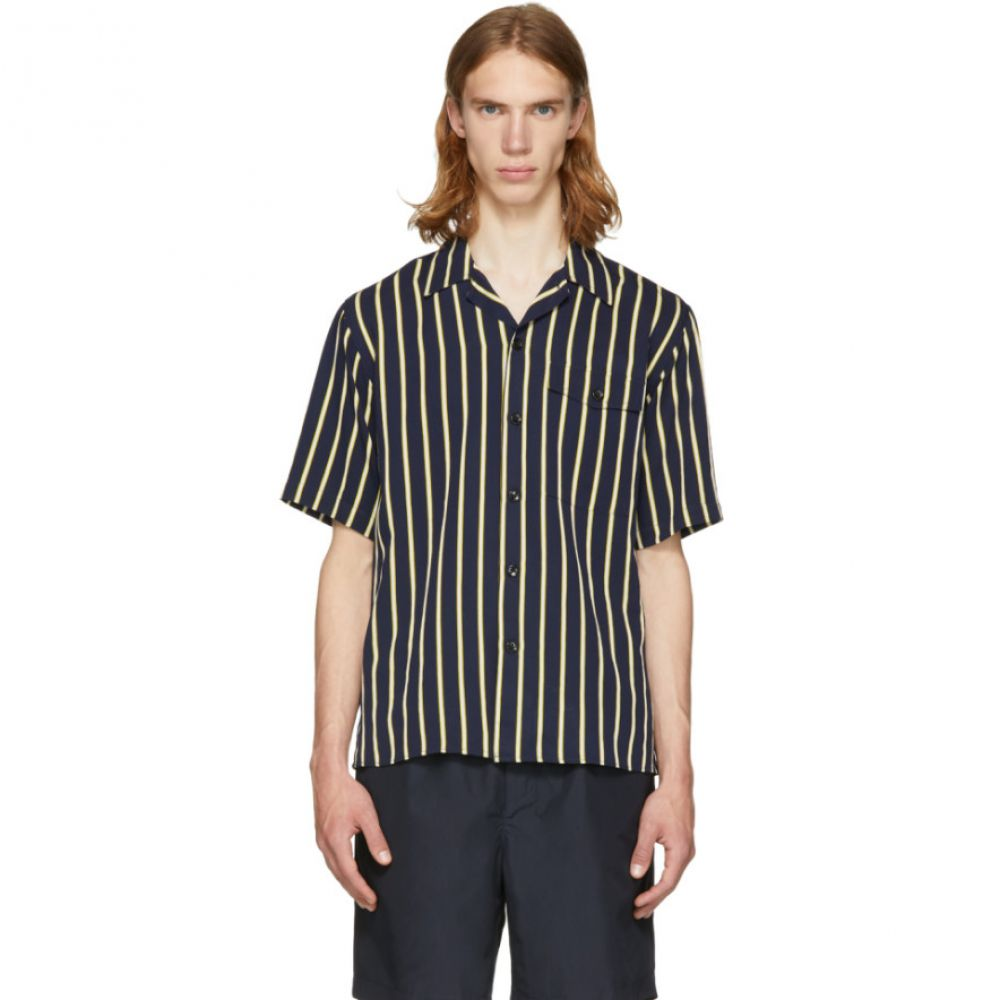 アミアレクサンドルマテュッシ メンズ トップス 半袖シャツ【Navy & Yellow Stripe Short Sleeve Shirt】