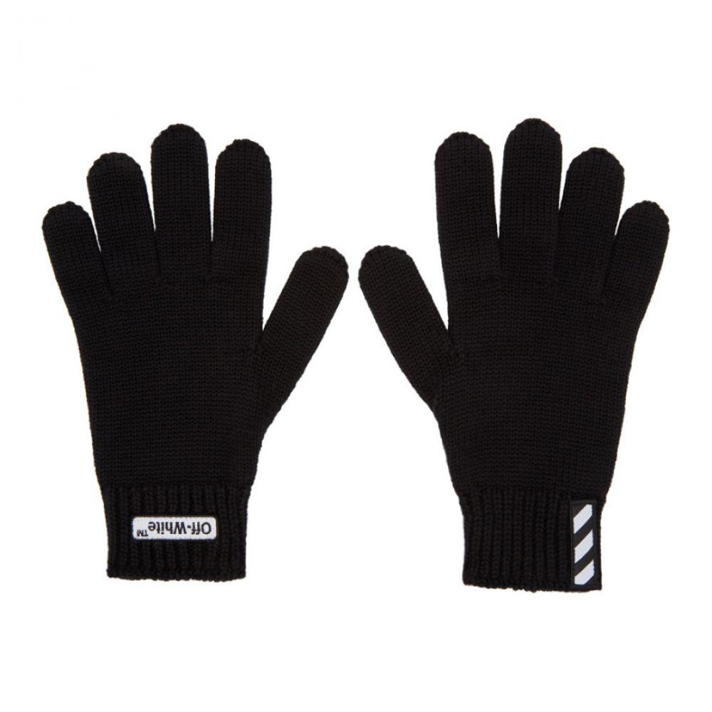 オフ-ホワイト メンズ 手袋・グローブ【Black Wool Logo Gloves】