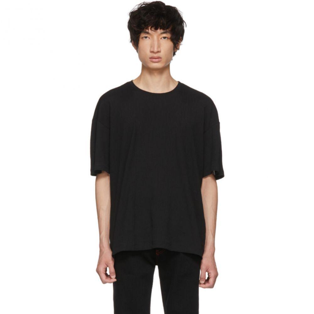 イッセイ ミヤケ メンズ トップス Tシャツ【Black Crepe Tuck Jersey T-Shirt】
