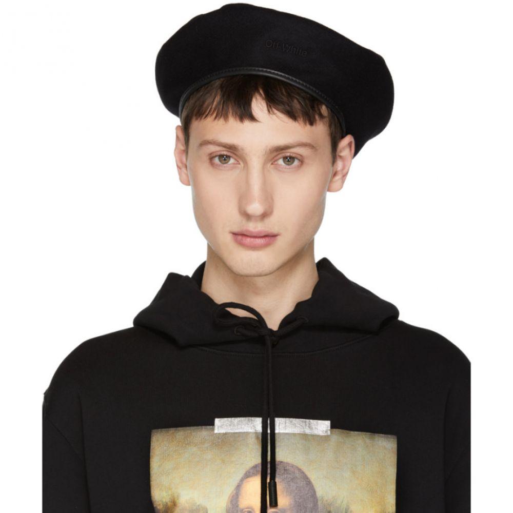 オフ-ホワイト メンズ 帽子【Black Logo Beret】