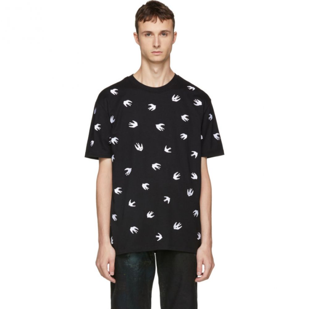 アレキサンダー マックイーン メンズ トップス Tシャツ【Black Embroidered Swallow T-Shirt】