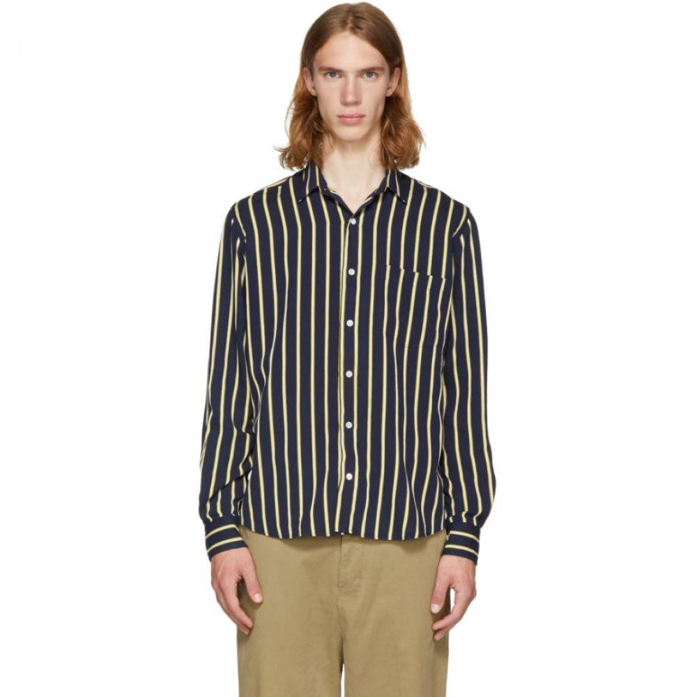 アミアレクサンドルマテュッシ メンズ トップス シャツ【Navy & Yellow Stripe Shirt】