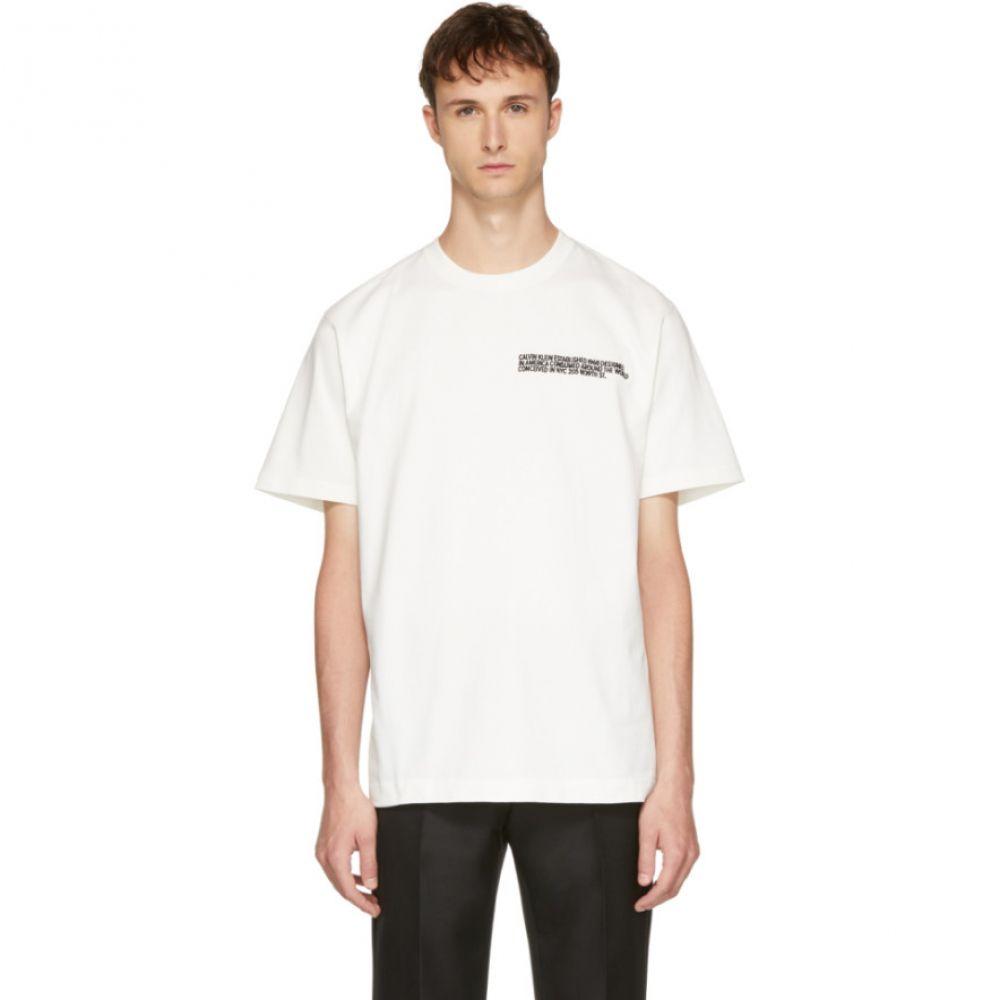 カルバンクライン メンズ トップス Tシャツ【Off-White Logo Text T-Shirt】