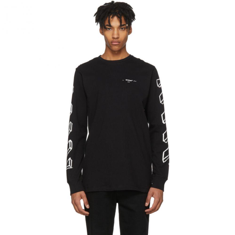 オフ-ホワイト メンズ トップス 長袖Tシャツ【Black & White Long Sleeve Diagonal Marker Arrows T-Shirt】