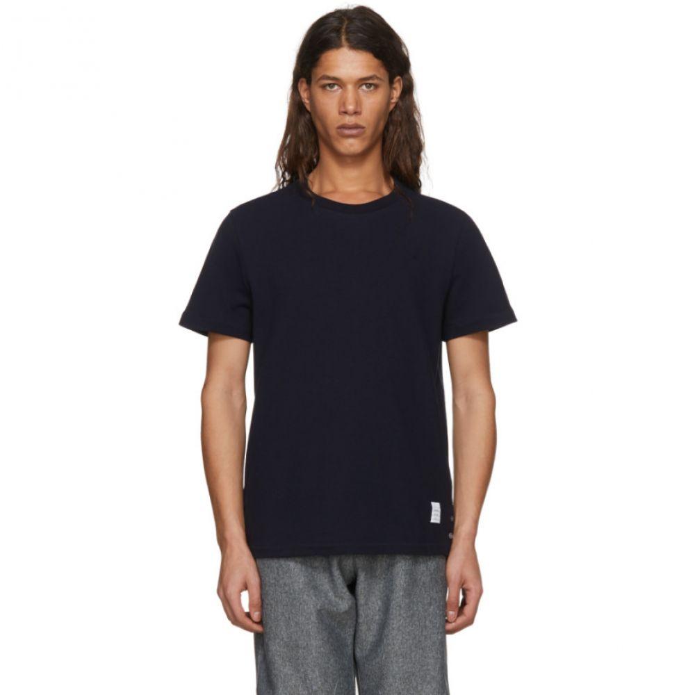 トム ブラウン メンズ トップス Tシャツ【Navy Relaxed Fit T-Shirt】