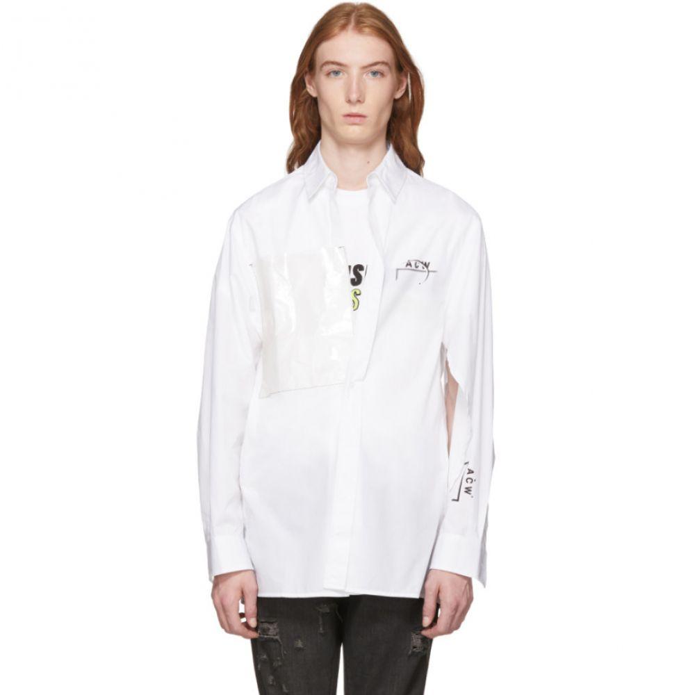 アコールドウォール メンズ トップス シャツ【White Cotton Logo Shirt】