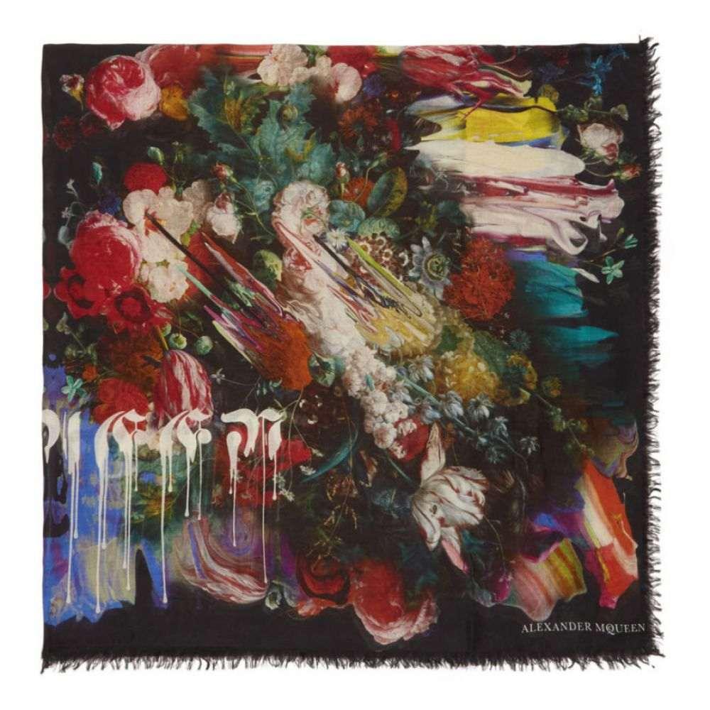 アレキサンダー マックイーン レディース マフラー・スカーフ・ストール【Black Drip Flower Scarf】