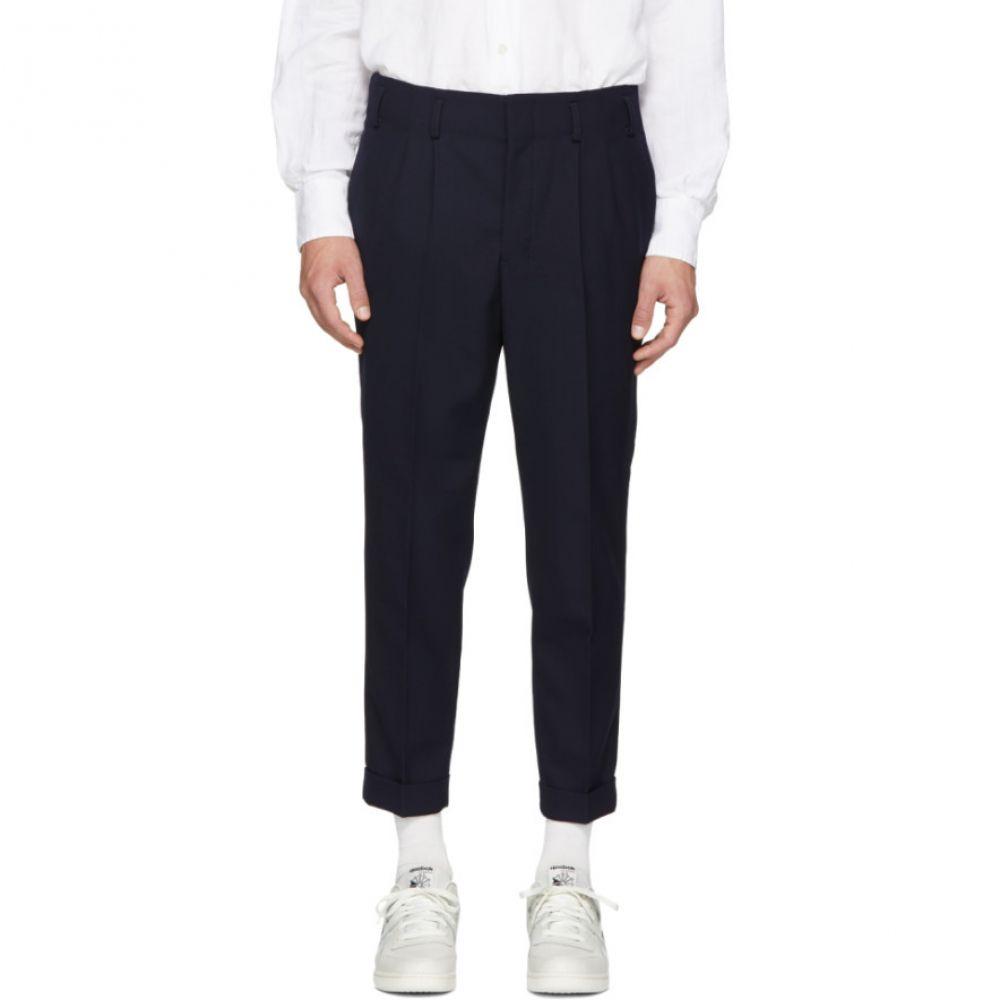 アミアレクサンドルマテュッシ メンズ ボトムス・パンツ【Navy Wool Pleated Carrot Fit Trousers】