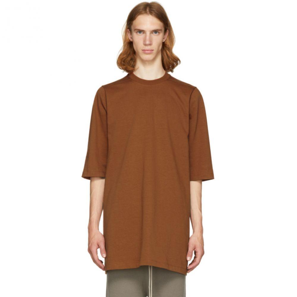 リック オウエンス メンズ トップス Tシャツ【Brown Crewneck T-Shirt】