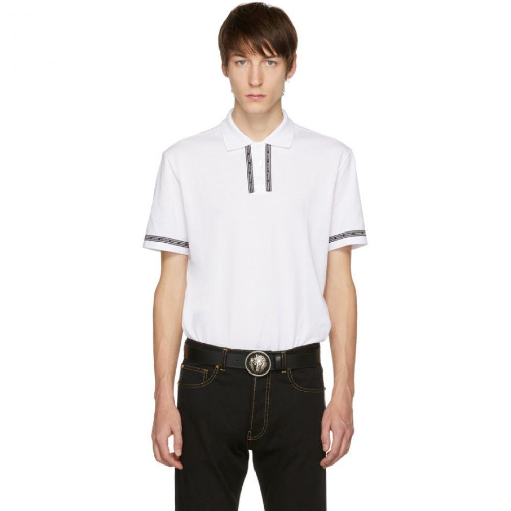 ヴェルサーチ メンズ トップス ポロシャツ【White Logo Tape Polo】
