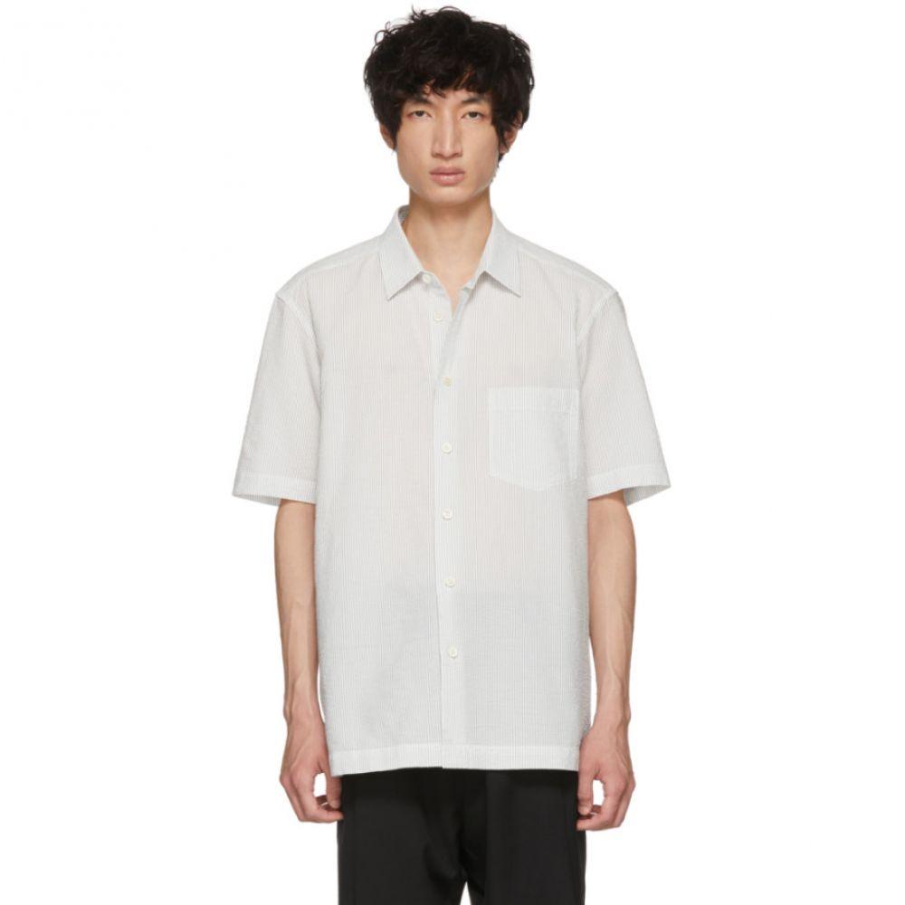 イッセイ ミヤケ メンズ トップス シャツ【White & Black Shrink Striped Shirt】