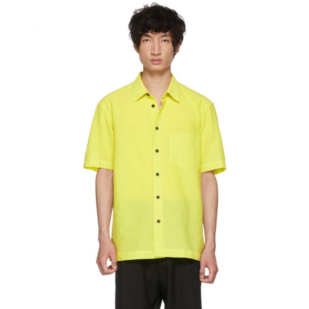イッセイ ミヤケ メンズ トップス シャツ【Yellow & Black Shrink Striped Shirt】