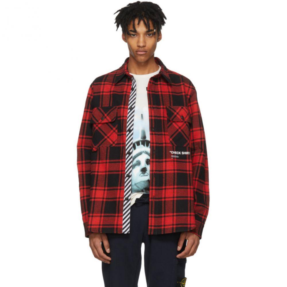 オフ-ホワイト メンズ トップス シャツ【Red & Black Flannel Quote Shirt】