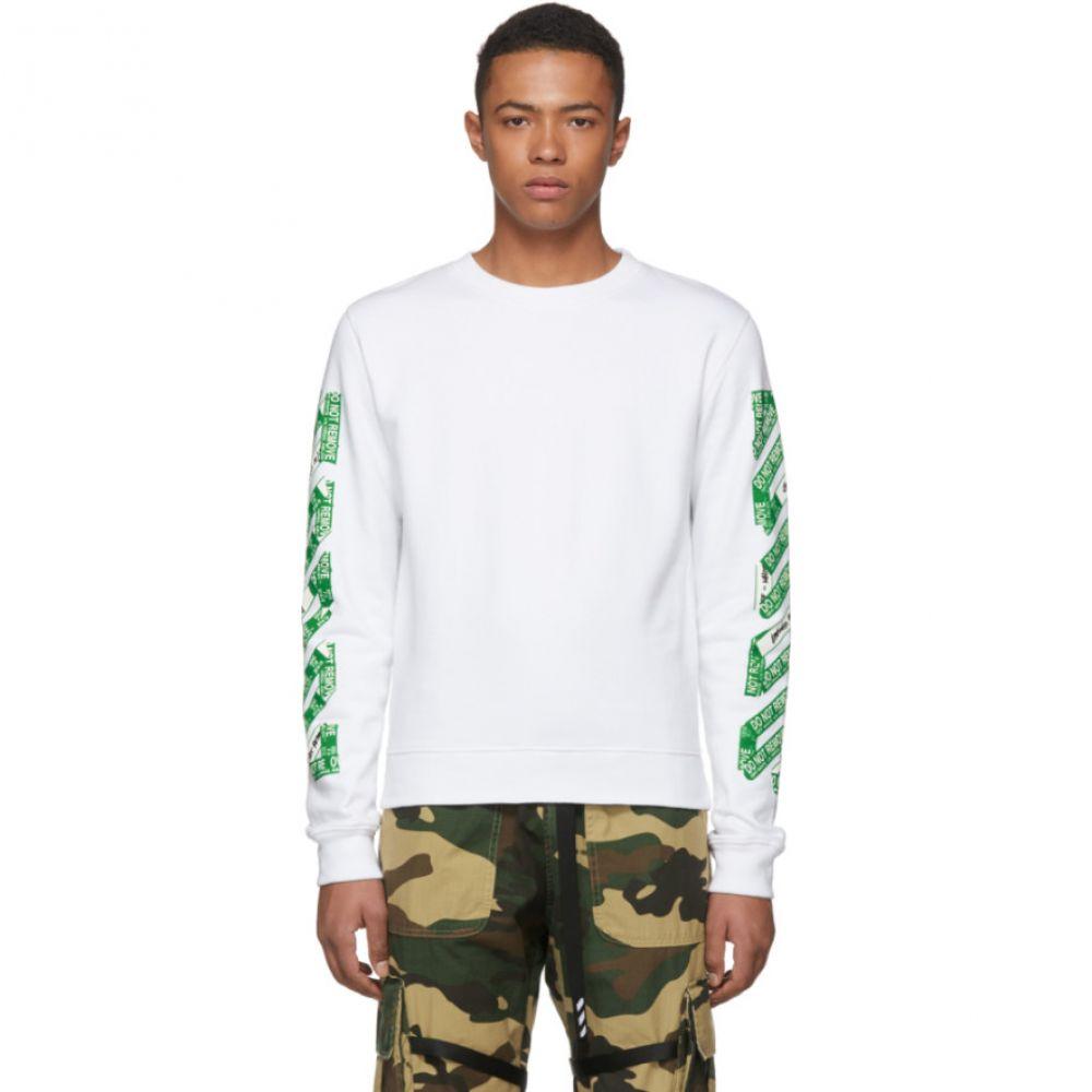 オフ-ホワイト メンズ トップス スウェット・トレーナー【SSENSE Exclusive White 3D Diagonal Sweatshirt】