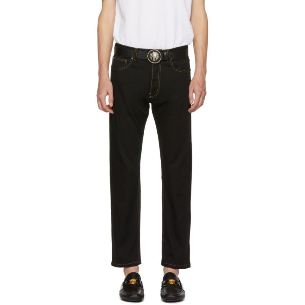 ヴェルサーチ メンズ ボトムス・パンツ ジーンズ・デニム【Black Slim Fit Gold Stitch Jeans】