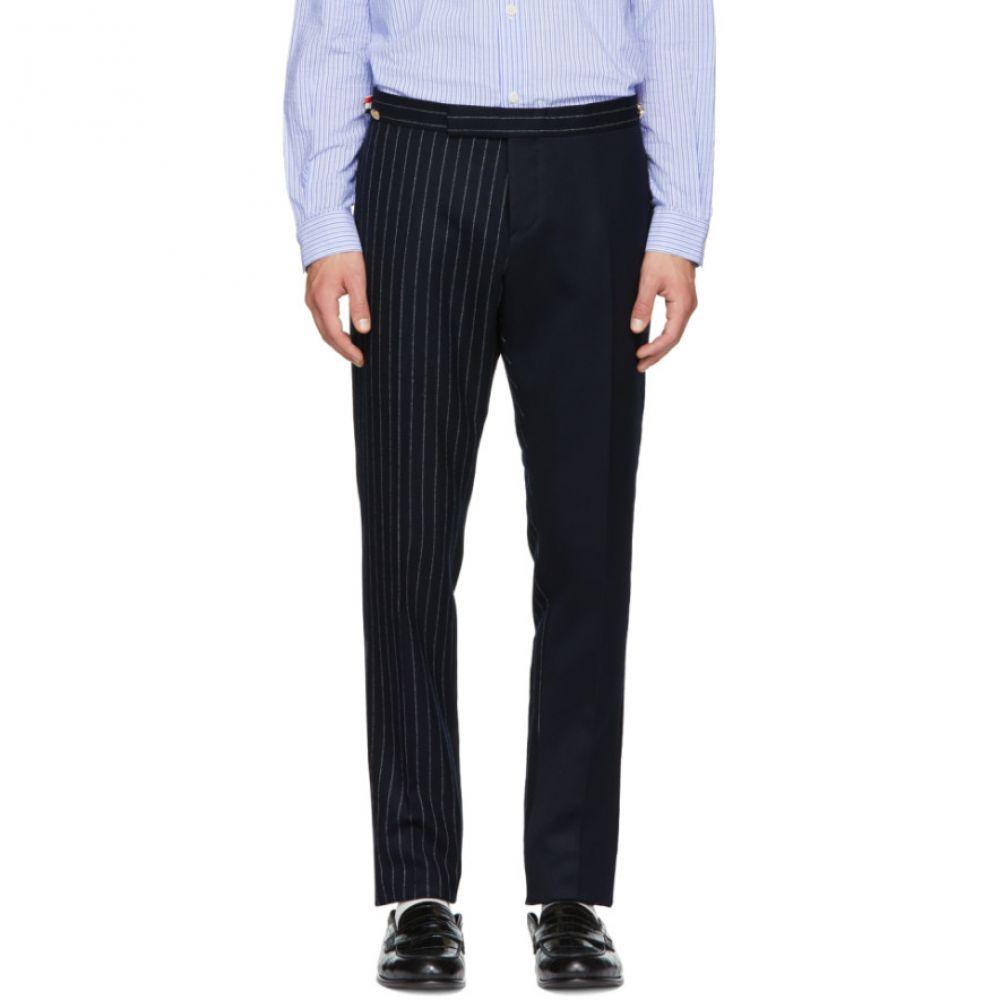 トム ブラウン メンズ ボトムス・パンツ スキニー・スリム【Navy Fun Mix Chalk Stripe Low-Rise Skinny Side Tab Trousers】