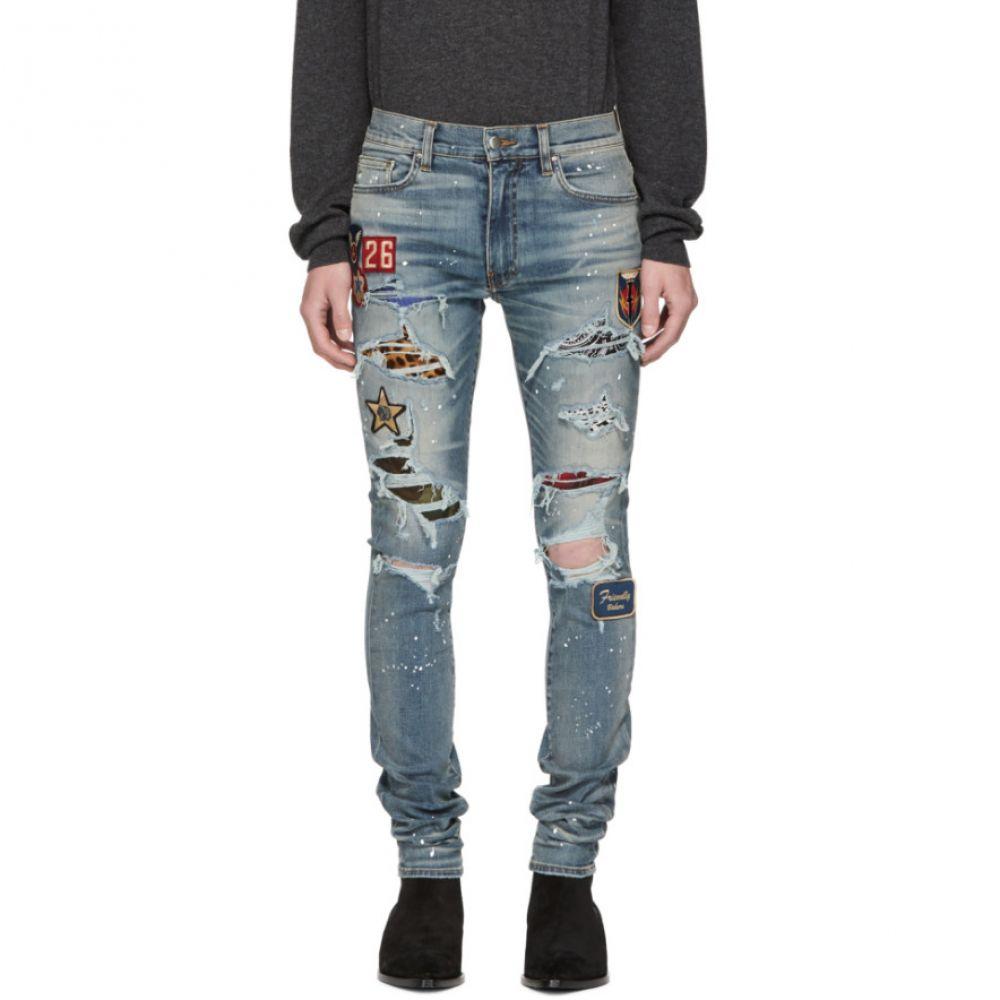 アミリ メンズ ボトムス・パンツ ジーンズ・デニム【Indigo Art Patch Painted Jeans】