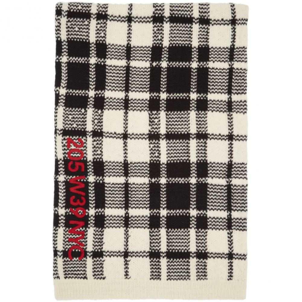 カルバンクライン レディース マフラー・スカーフ・ストール【Off-White & Black Embroidered Blanket Scarf】