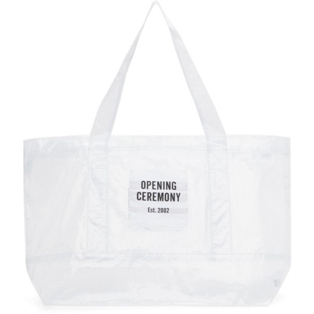 オープニングセレモニー レディース バッグ トートバッグ【White Transparent Medium Chinatown Tote】
