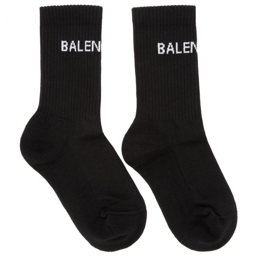 バレンシアガ レディース インナー・下着 ソックス【Black New Logo Tennis Socks】