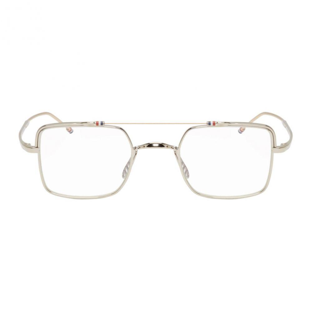 トム ブラウン レディース メガネ・サングラス【Silver Square Brow Bar Glasses】